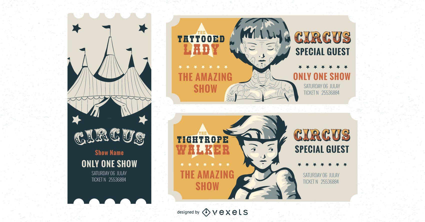 Circus ticket vector set