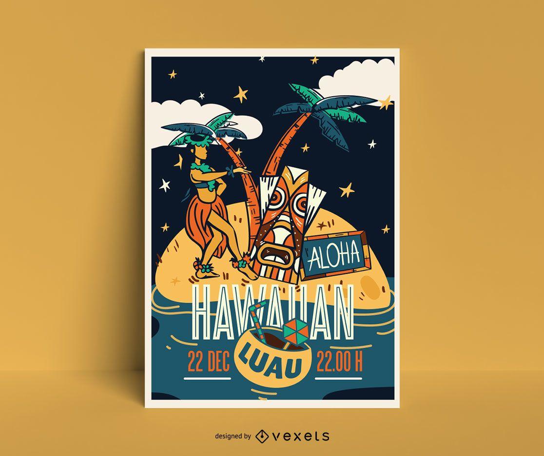 Hawaii poster template