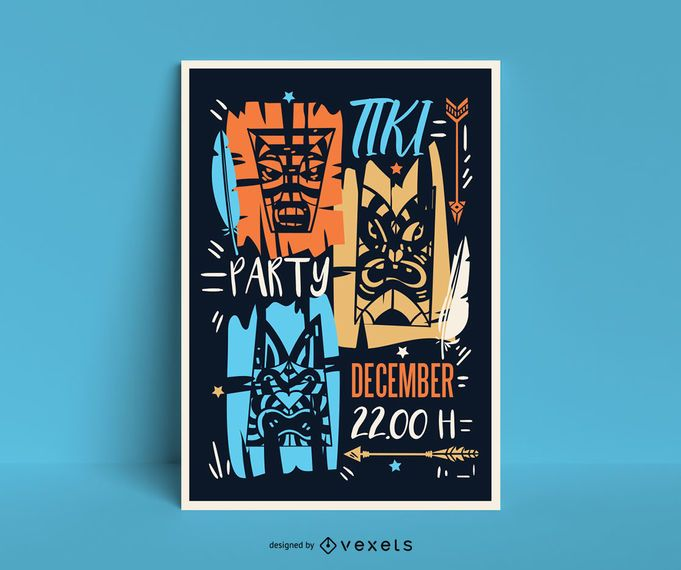 Design de cartaz de festa tiki no Havaí