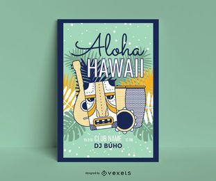 Plantilla de póster aloha hawaii