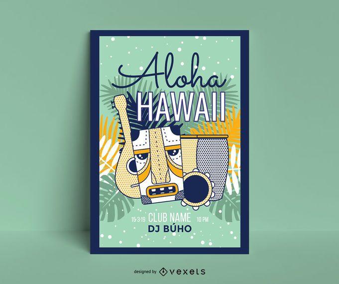 Aloha hawaii poster template