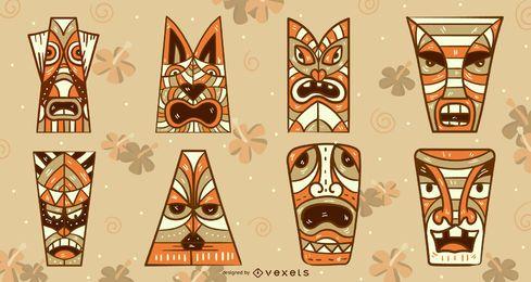 Tiki Masken Vektor festgelegt