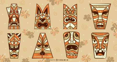 Tiki masks vector set
