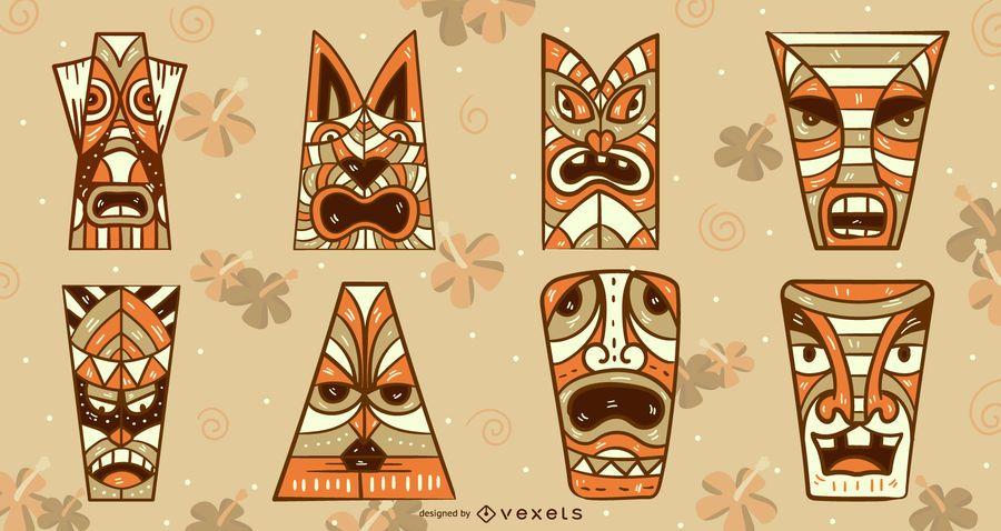 Tiki masks vector set