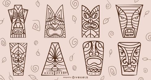 Conjunto de trazos de máscaras Tiki