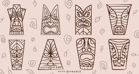 Tiki masks stroke set