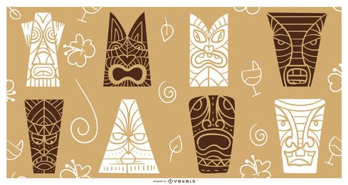Conjunto de silueta de máscaras de Tiki