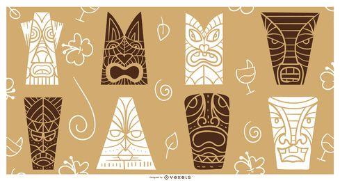Tiki masks silhouette set