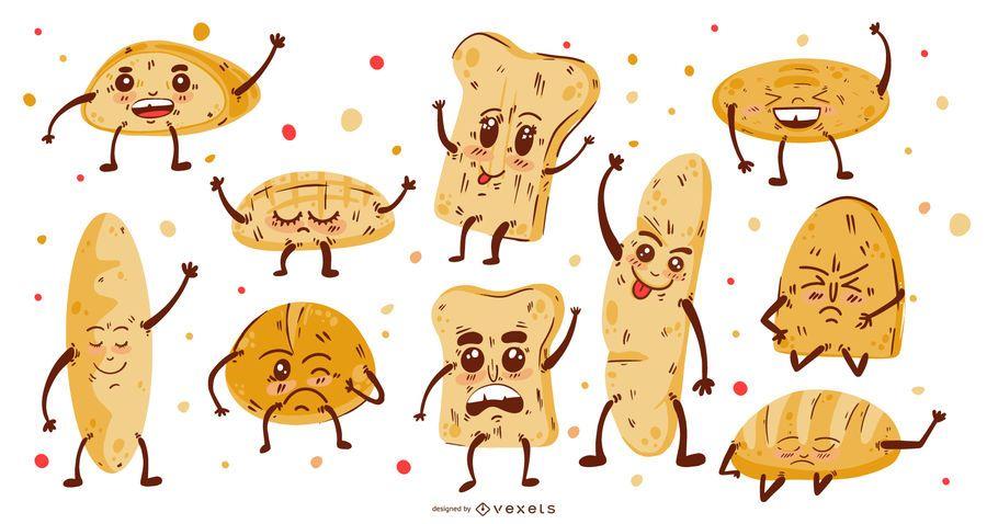 Coleção de desenhos animados de pão