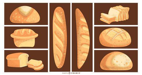 Conjunto de ilustrações de pão