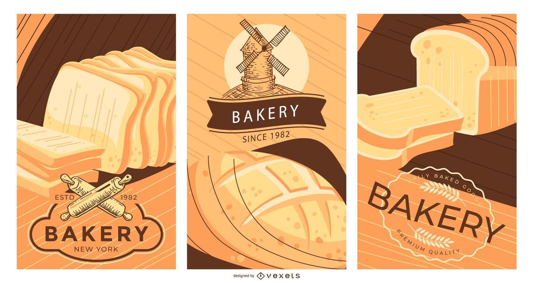 Conjunto de diseño de carteles editables de panadería