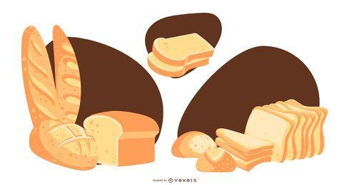 Conjunto de Design de pão e fatias de pão