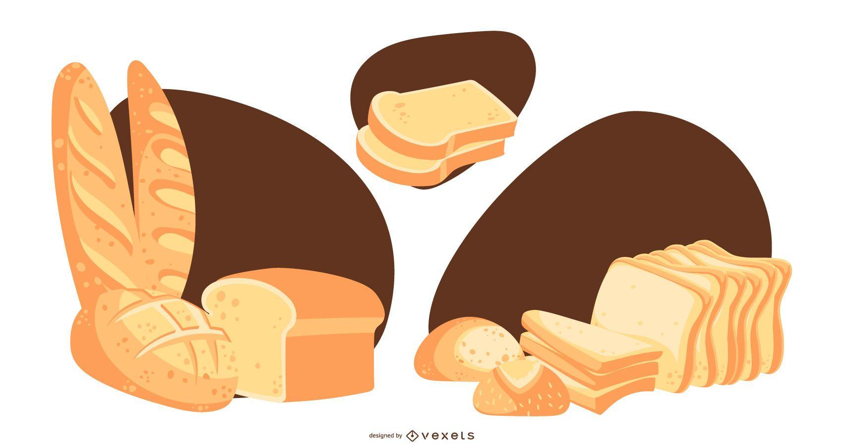Bread Loaf and Slices Design Set