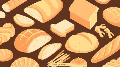 Design de papel de parede de pão isométrico