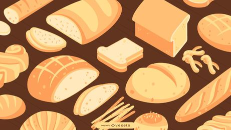 Isometric Bread Wallpaper Design