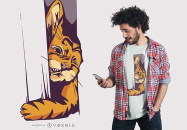 Diseño de camiseta de gato atrapado