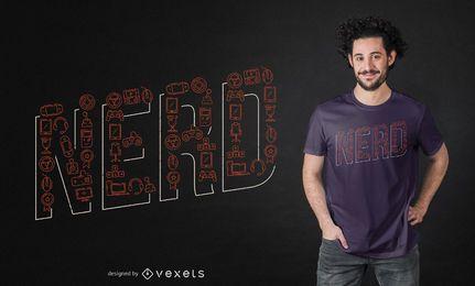 Diseño de camiseta de letras nerd
