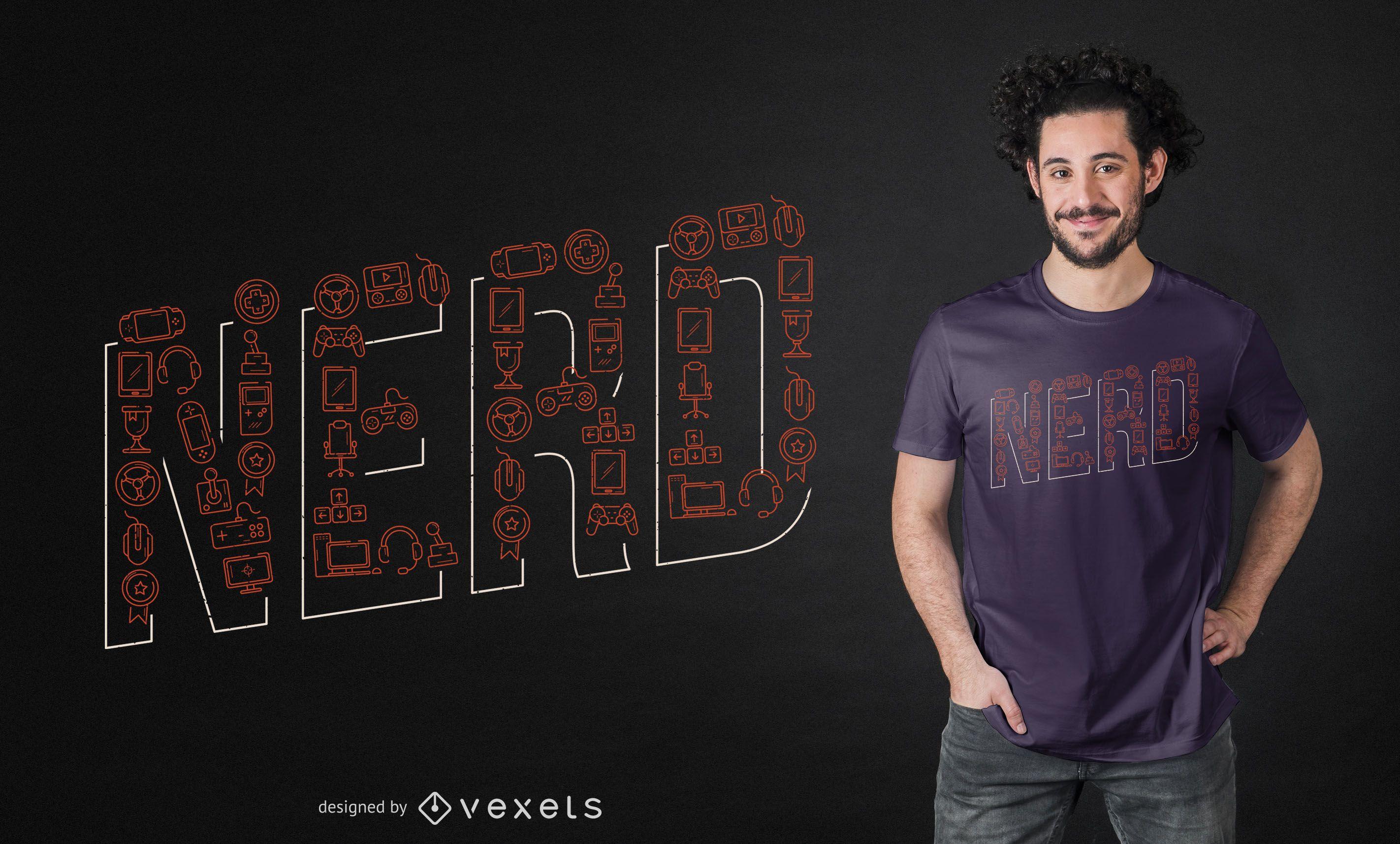Diseño de camiseta Nerd Lettering