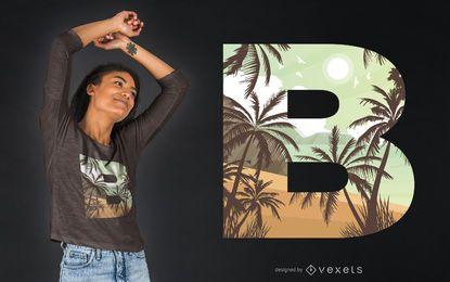 Design de camiseta praia letra B