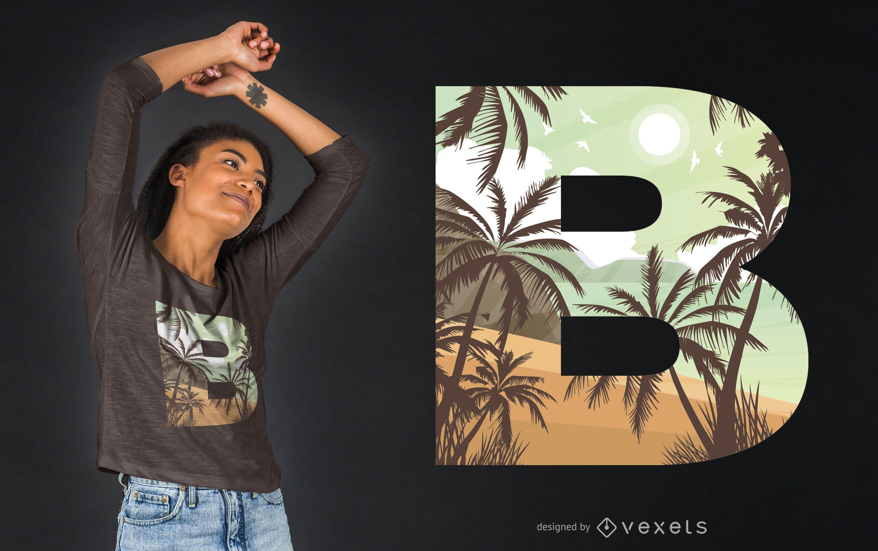 Beach Letter B T-shirt Design
