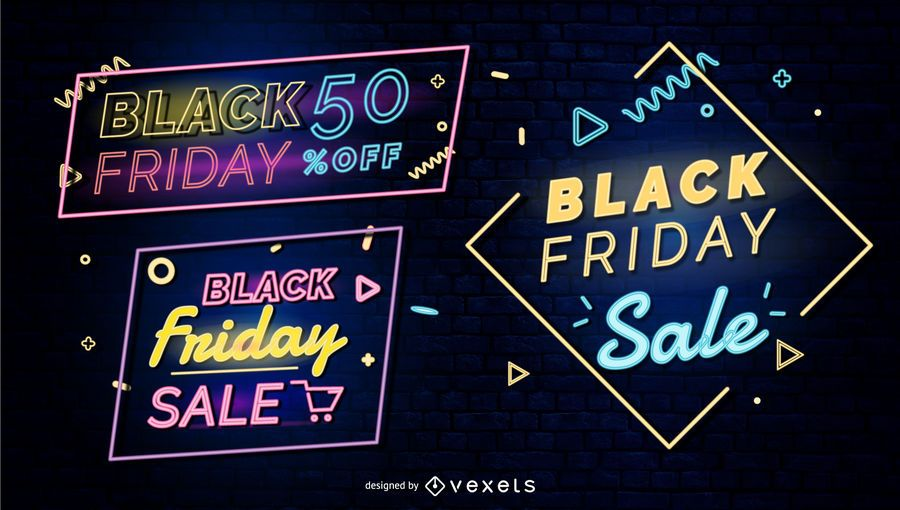 Black friday neon badges set