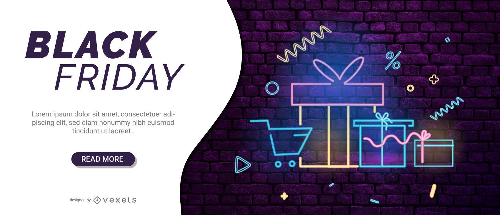 Control deslizante web de neón de viernes negro