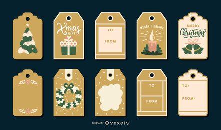 Paquete de etiquetas navideñas