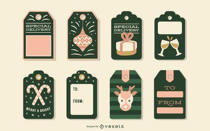 Conjunto de vectores de etiquetas de Navidad