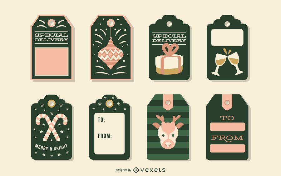 Christmas tags vector set