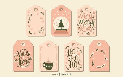 Lindo conjunto de etiquetas navideñas