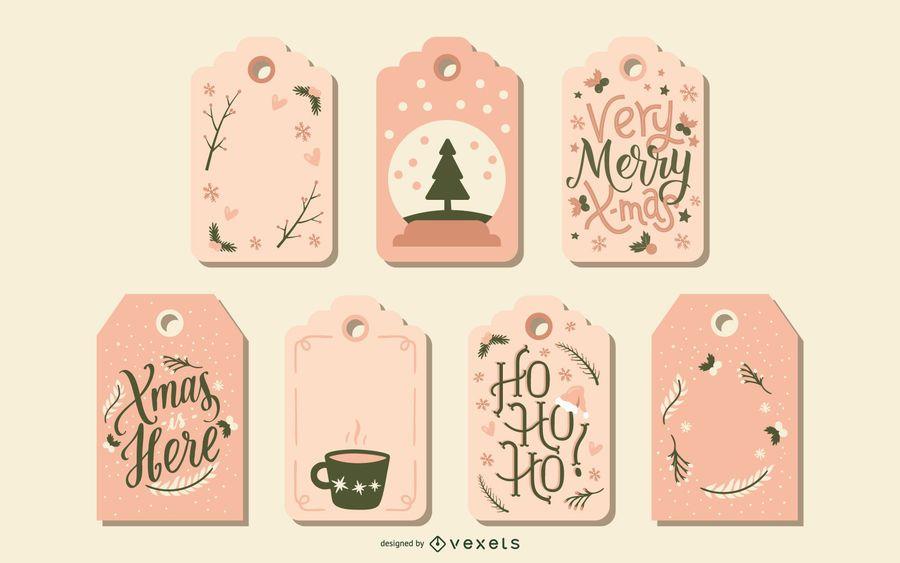 Conjunto de etiquetas de Natal fofo