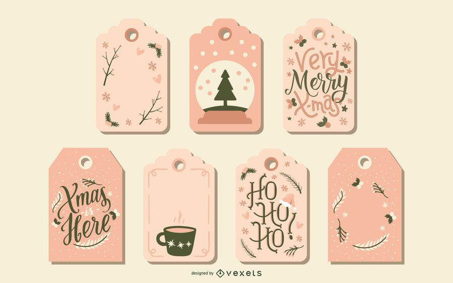 Cute Christmas tags set