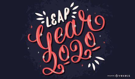 Design de letras do ano bissexto 2020