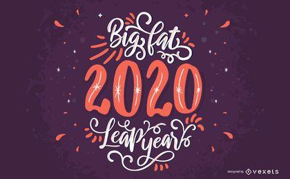 Grande desenho de letras de 2020