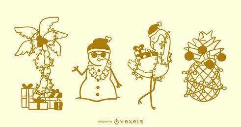 Elementos tropicales de trazo de navidad