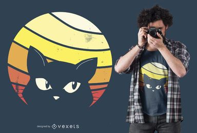 Design retro do t-shirt do gato do por do sol
