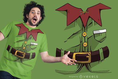 Design de t-shirt de traje de duende de Natal