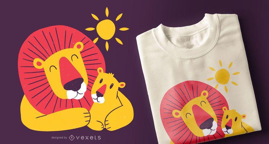 Lion dad son t-shirt design