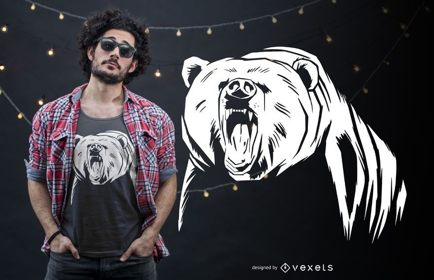 Diseño de camiseta de oso enojado