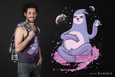 Diseño de camiseta de pereza espacial
