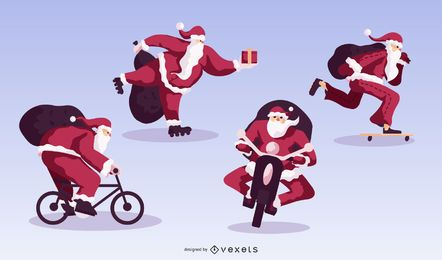 Pacote de design plano de esporte de Natal Papai Noel