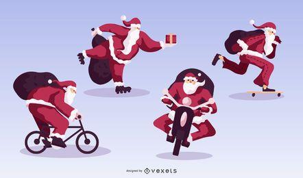 Paquete de diseño plano Christmas Sport Santa