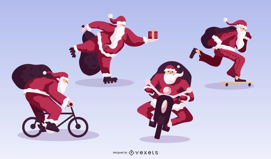 Christmas Sport Santa Flat Design Pack