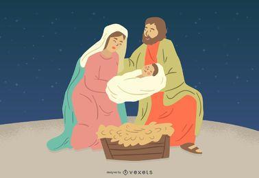 Geburt Christi Jesus Mary Joseph Character Illustration