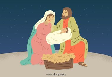 Krippe Jesus Mary Joseph Charakter Illustration