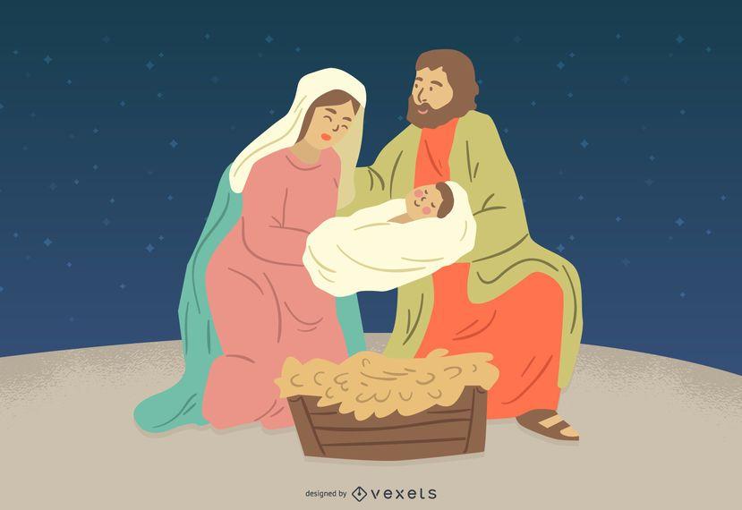 Natividad Jesús María José Ilustración del personaje