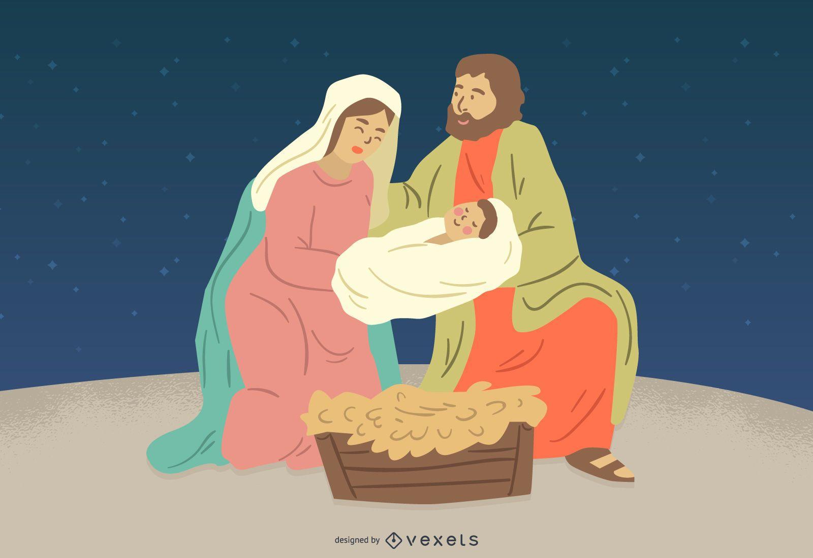 Nativity Jesus Mary Joseph Character Illustration