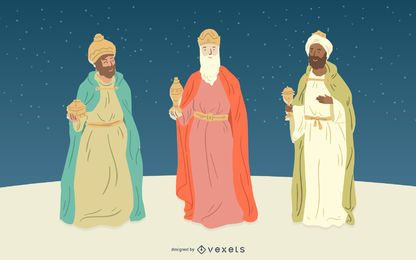 Conjunto de caracteres de três reis pessoas da natividade