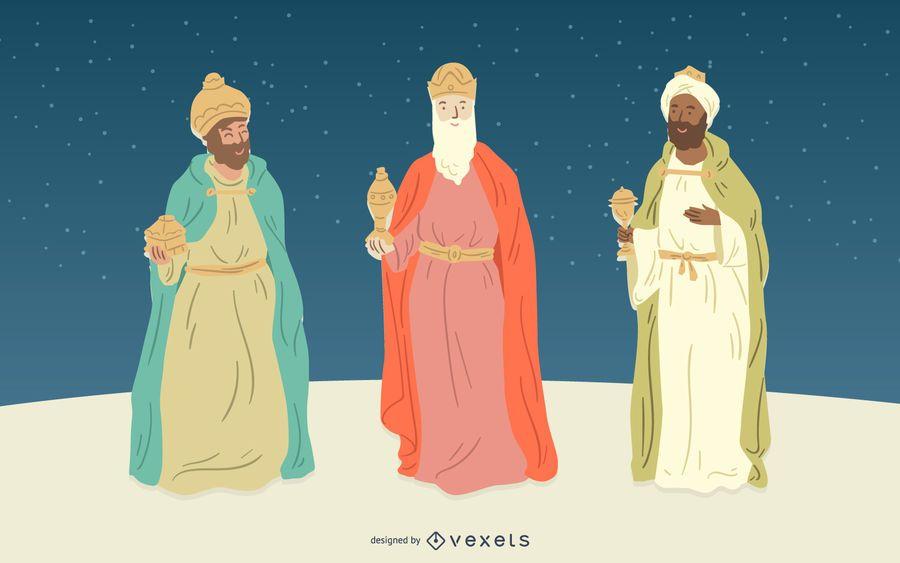 Conjunto de caracteres de la gente de Natividad de tres reyes