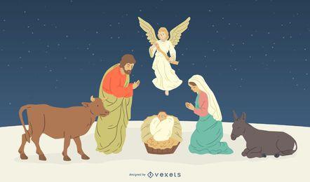 Natividade, personagens, nascimento, de, jesus, ilustração